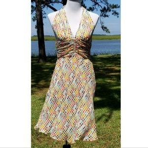 Trina Turk silk polka dot halter dress